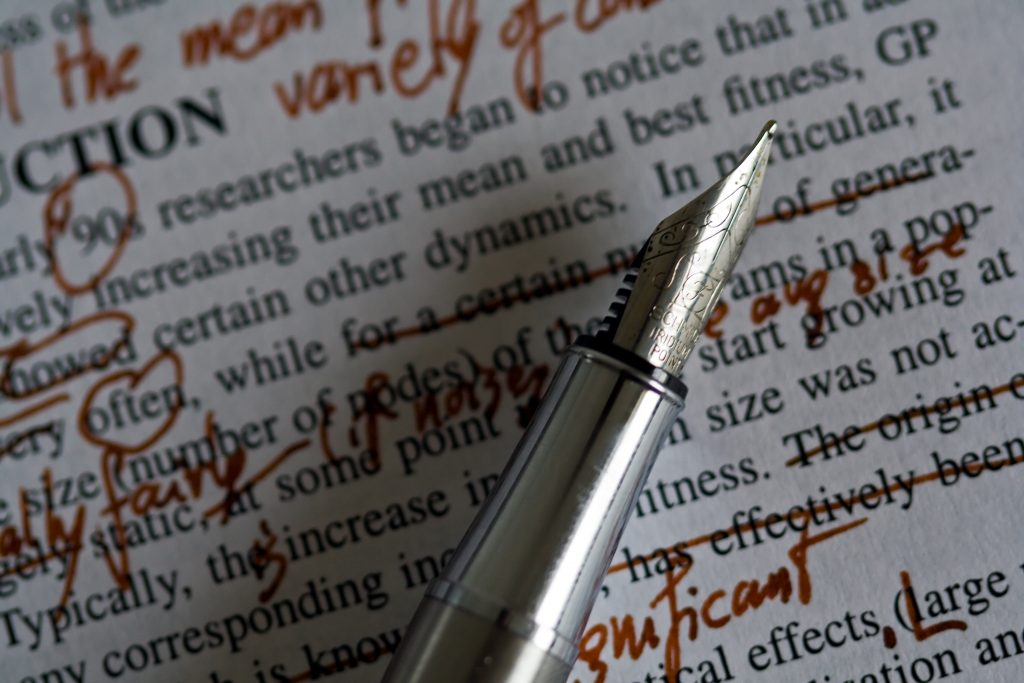 Photo of an edited manuscript. Credit to Nick McPhee on Flickr