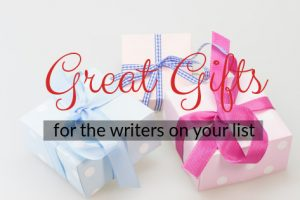 great Christmas gifts for the writers on your list; picture of gifts with text