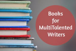 "Stack of books with the text ""Books for MuliTalented Writers"" inside a circle beside the stack of books"
