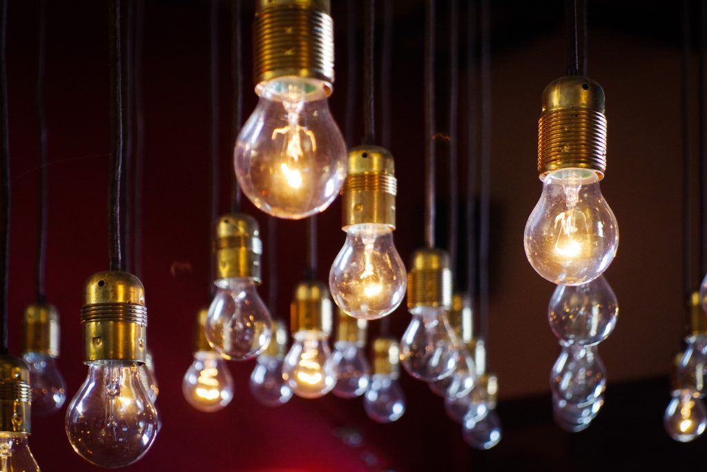 lightbulbs; mind maps for freelance writing success; Photo by Diz Play on Unsplash