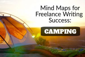 mind map for freelance writing success: camping; Photo by Jake Sloop on Unsplash; design by Mariana Abeid-McDougall