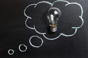 mind maps; lightbulb on blackboard with thought cloud around it