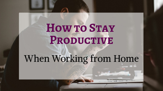 Title Image for How to Stay Productive When Working from Home. Tattooed man working in home office in background. Photo by Allef Vinicius on Unsplash