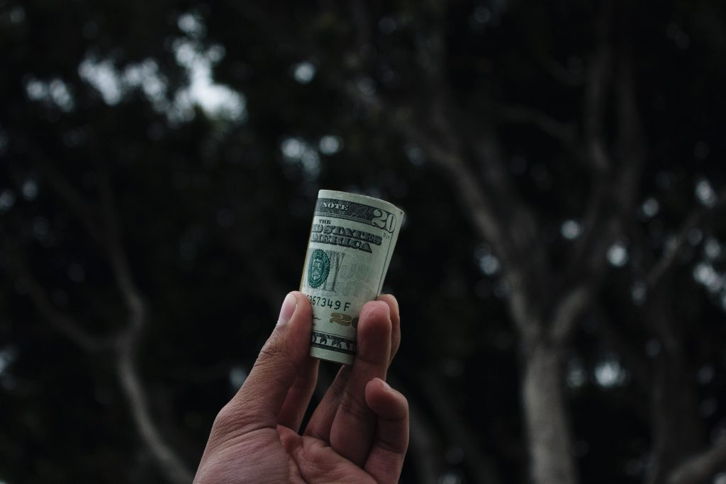 hand holding money Photo by Vitaly on Unsplash
