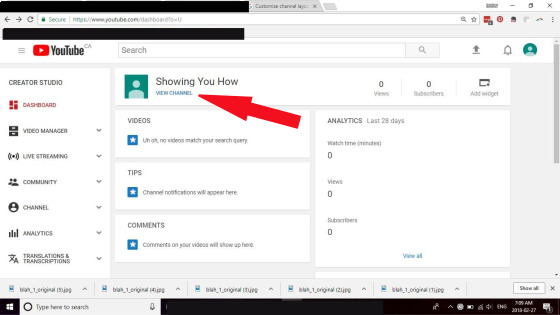 creating a youtube channel screen capture; promoting your writing with youtube