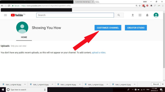 Customizing your YouTube channel screen capture