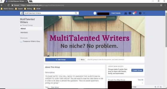 Screen Shot MultiTalented Writers Facebook Group