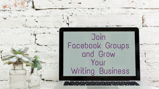 Title: Join Facebook Group and Grow Your Writing Business, written on a laptop screen on a desk.