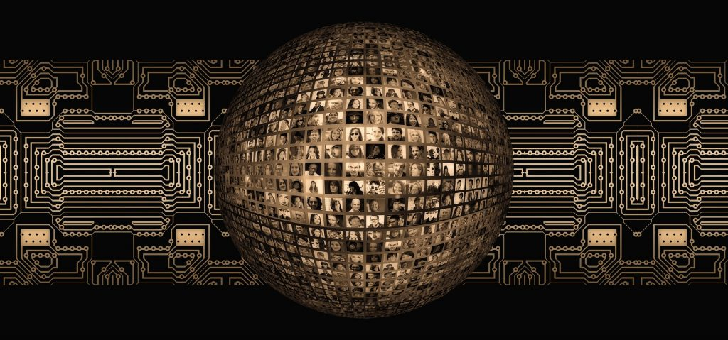 social media graphic; globe made of many pictures of faces