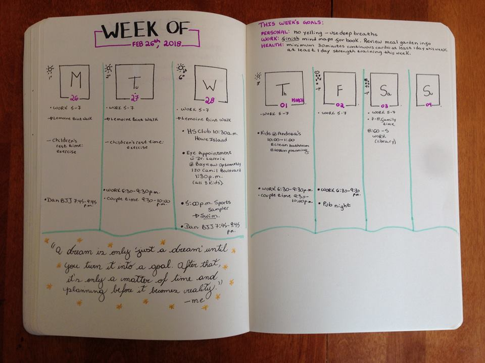 Picture of Day Book with weekly planning; How to stay organized as a freelance writer