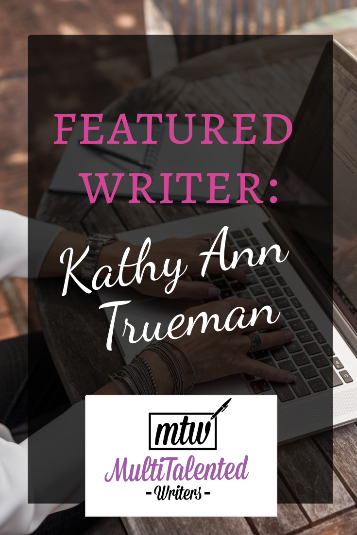 Featured Writer: Kathy Ann Trueman, MultiTalented Writers. Photo of woman's hands typing on laptop, Photo by LinkedIn Sales Navigator on Unsplash