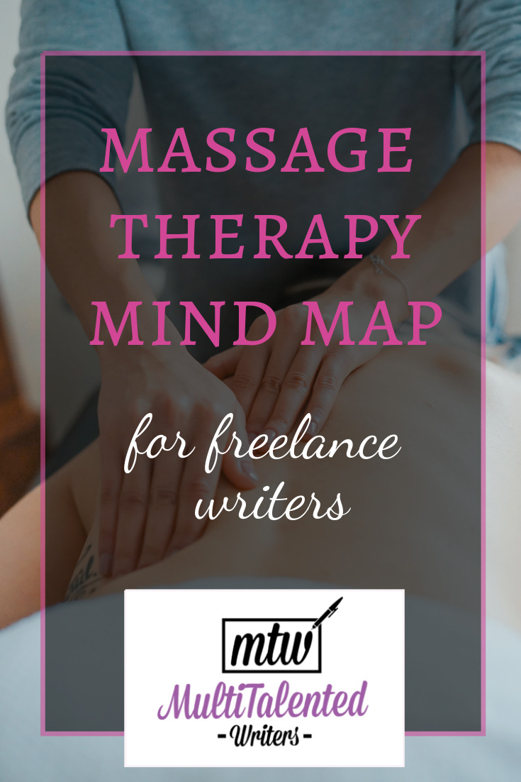 Pinterest blog title image. Pink and white letters read: Massage Therapy Mind Map for Freelance Writers. MultiTalented Writers logo is at the bottom of the image. Background by Photo by Toa Heftiba on Unsplash shows female hands massaging a back.