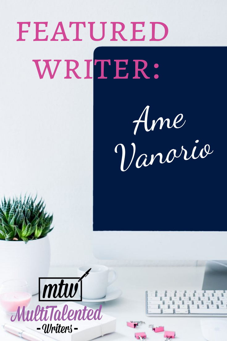 Featured writer: Ame Vanorio. Photo of a desktop with a flat screen computer screen on the right, and a house plant on the left.