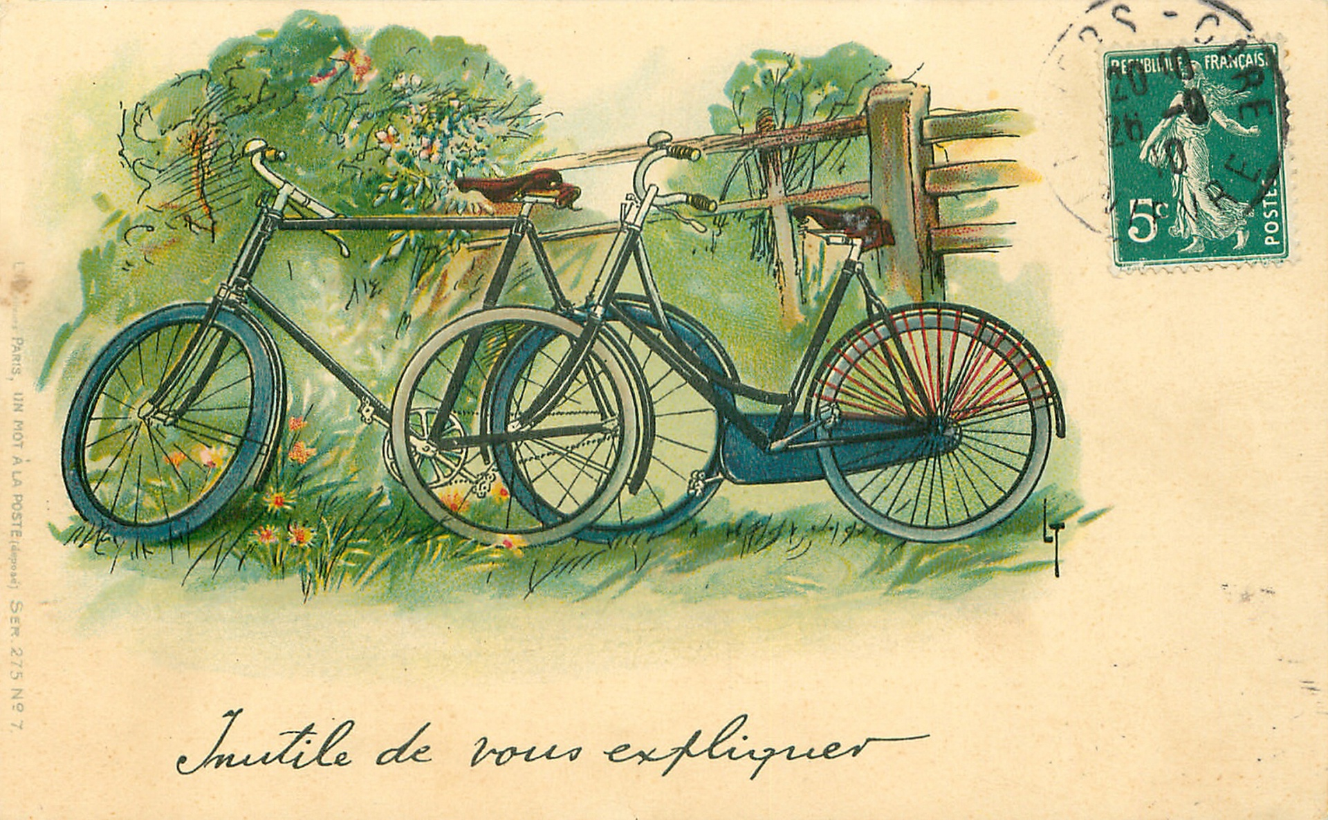 vintage bicycle postcard