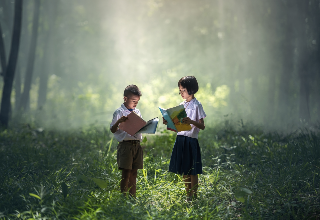 Two children reading in a forest