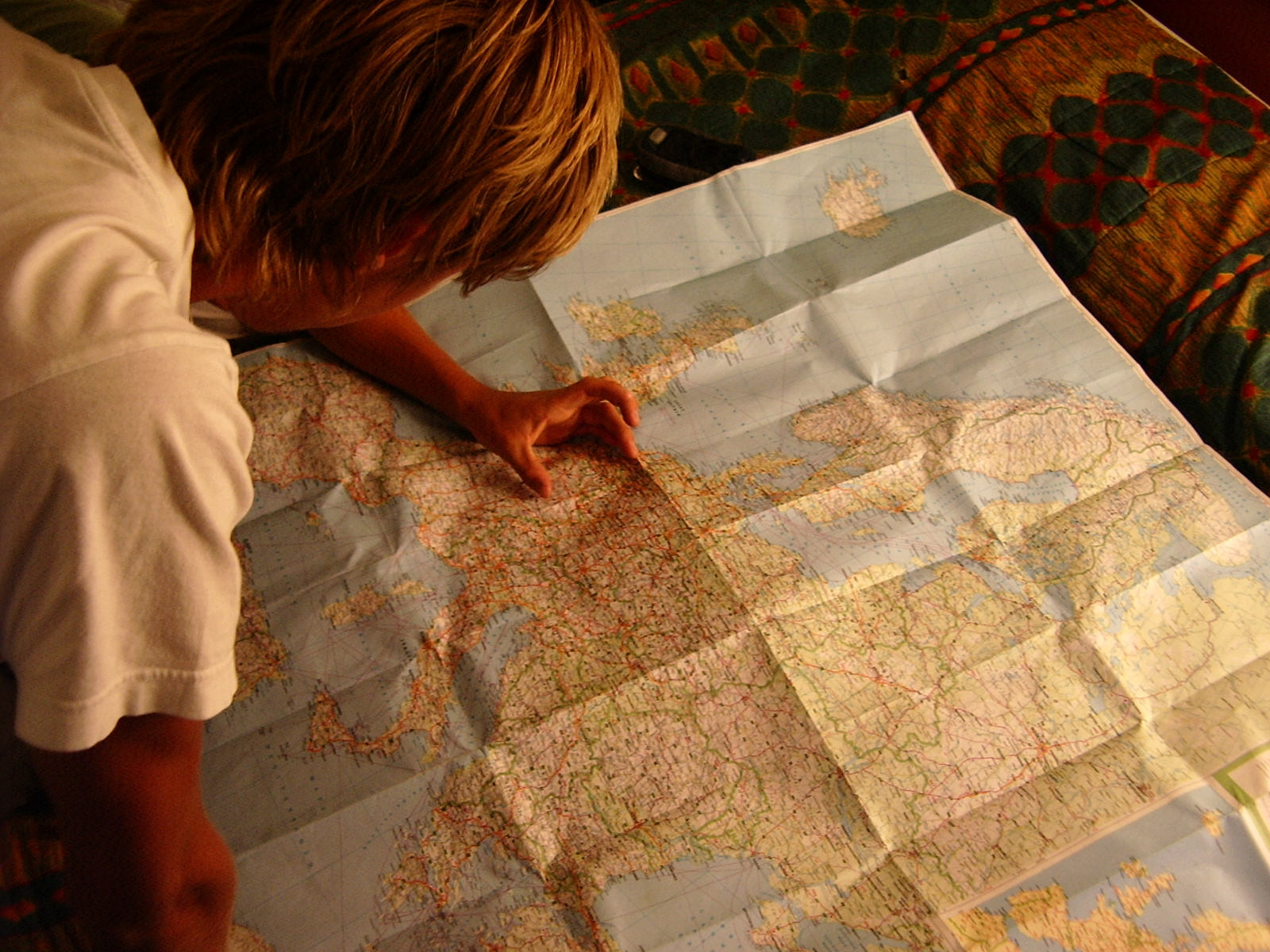 man looking at a map