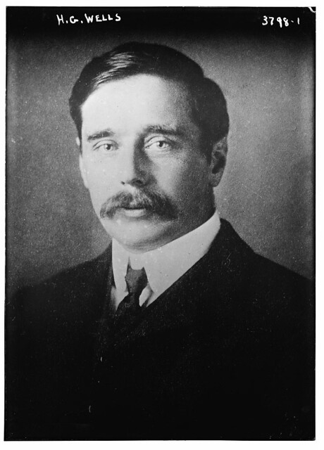 Photograph of author H. G. Wells circa 1915-1920. Photo from Library of Congress archives.