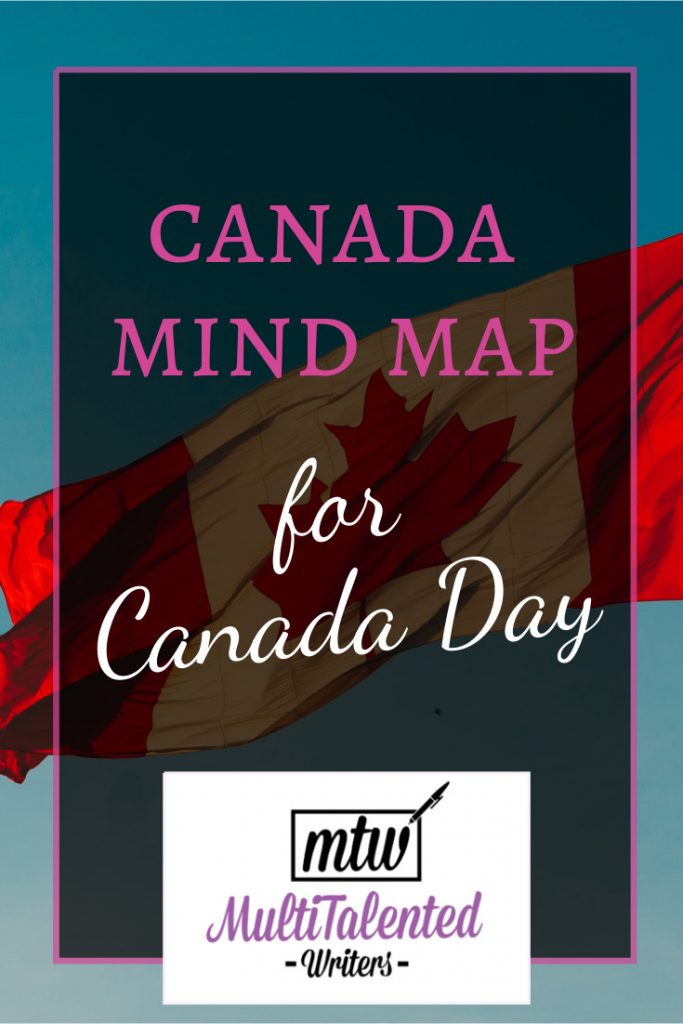 Canada Mind Map for Canada Day, MultiTalented Writers. Background Photo by Hermes Rivera on Unsplash shows a Canadian flag waving against a blue sky.