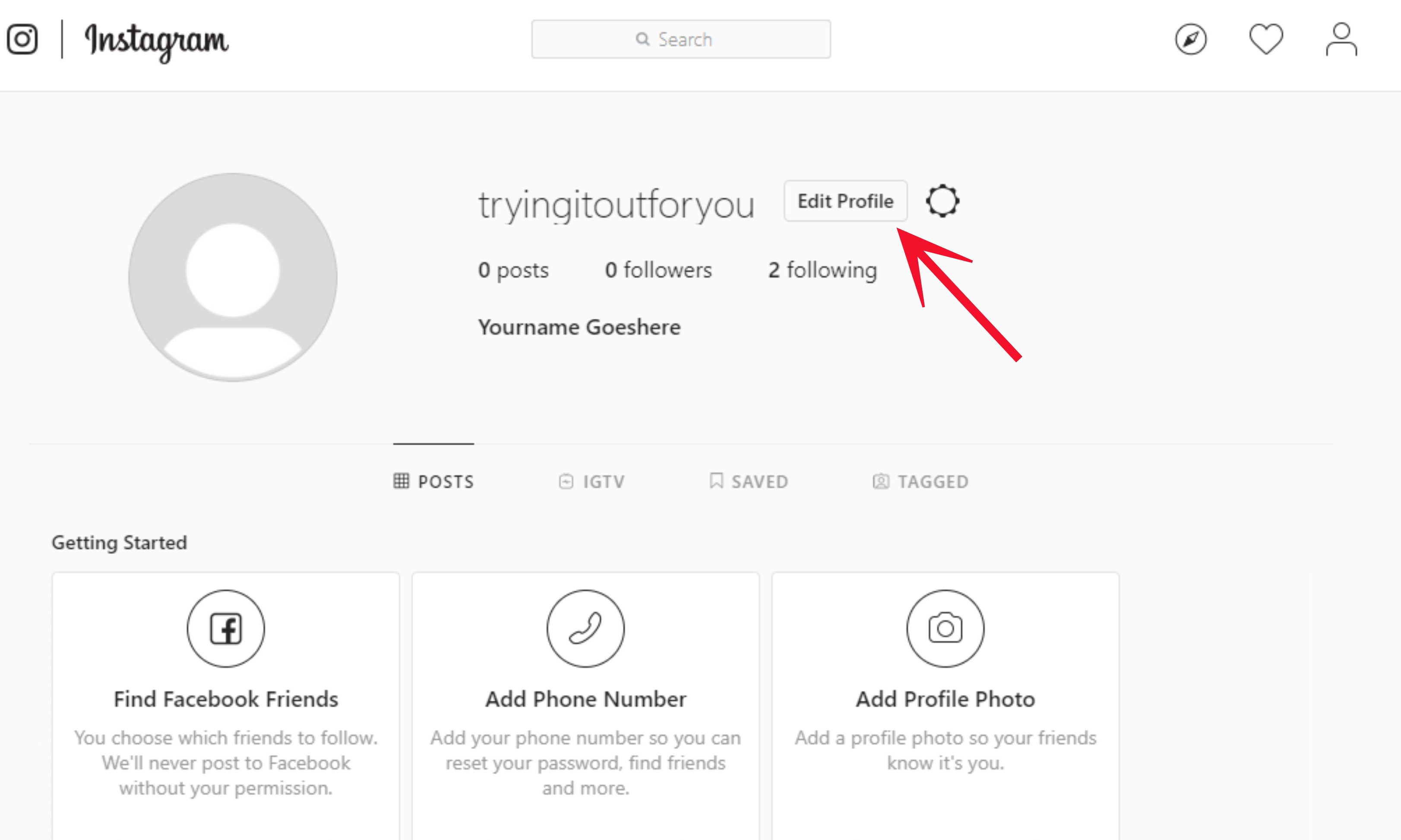 "Instagram screen capture ""edit your profile."" Instagram for Writers on MultiTalented Writers"