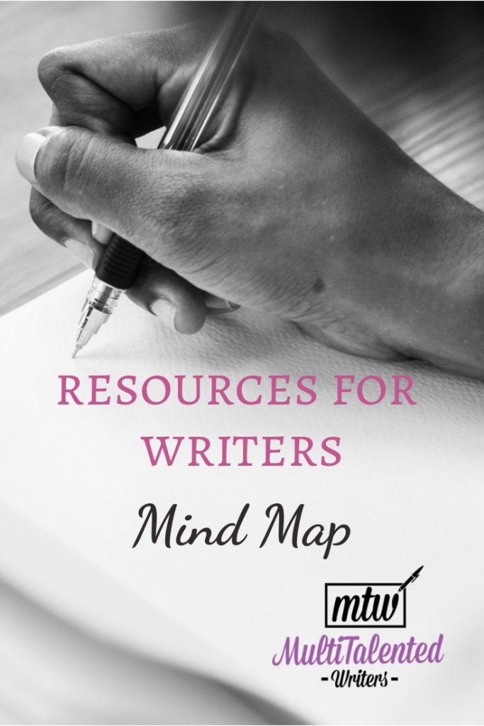 Resources for Writers Mind Map, MultiTalented Writers. Background photo by RawPixel on Pixabay shows a hand getting read to write in a blank notebook.