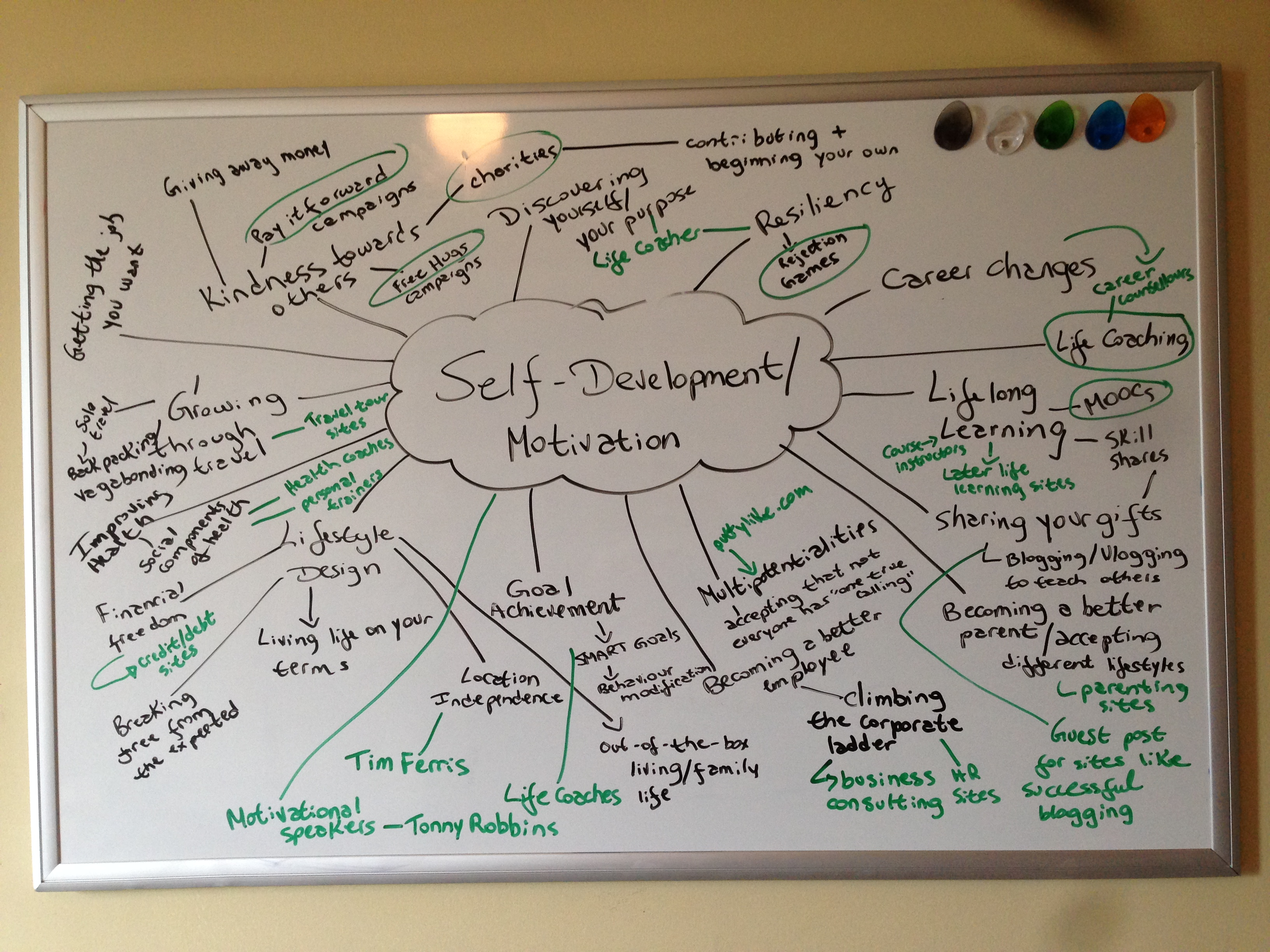 Niche diversification mind map: self-developent. A white dry-erase board shows the words self-development/motivation in the center, with several words related to the main topic connected to it by lines.